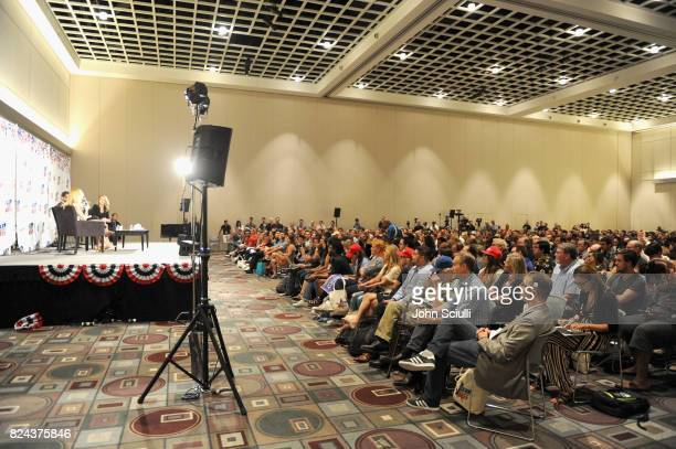 Ann Coulter and Ana Kasparian at 'Ann Coulter vs Ana Kasparian' panel during Politicon at Pasadena Convention Center on July 29 2017 in Pasadena...