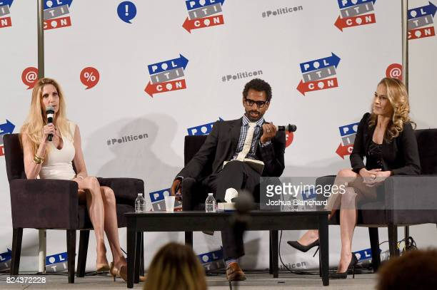 Ann Coulter moderator Toure and Ana Kasparian at 'Ann Coulter vs Ana Kasparian' panel during Politicon at Pasadena Convention Center on July 29 2017...