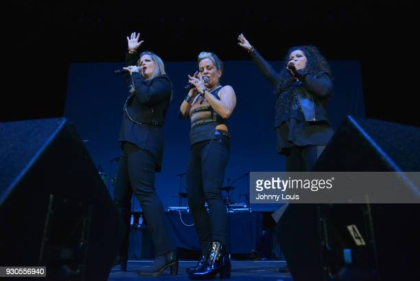 Ann Curless Gioia Bruno and Jeanette Jurado of Expose perform during the Freestyle concert at Watsco Center on March 10 2018 in Coral Gables Florida
