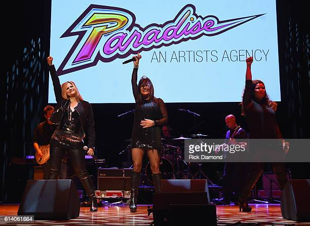 Ann Curless Gioia Bruno and Jeanette Jurado perform at the Paradise Artists Party during day 3 of the IEBA 2016 Conference on October 11 2016 in...