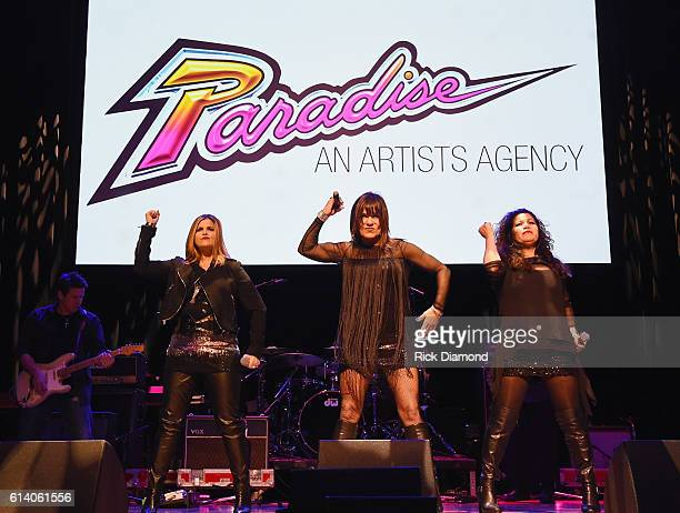 Ann Curless Gioia Bruno Jeanette Jurado perform at the Paradise Artists Party during day 3 of the IEBA 2016 Conference on October 11 2016 in...