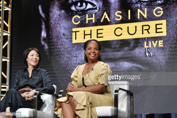 Ann Curry and Kim Bondy of Chasing The Cure speak during the TNT TBS segment of the Summer 2019 Television Critics Association Press Tour 2019 at The...