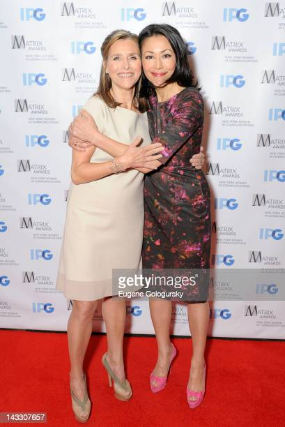 Ann Curry and Meredith Vieira attends the 2012 Matrix Awards Luncheon at The Waldorf=Astoria on April 23 2012 in New York City