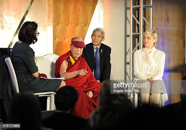 Ann Curry His Holiness The 14th Dalai Lama and Actress Sharon Stone attends The Lourdes Foundation 'Leadership in the 21st Century' Event with His...