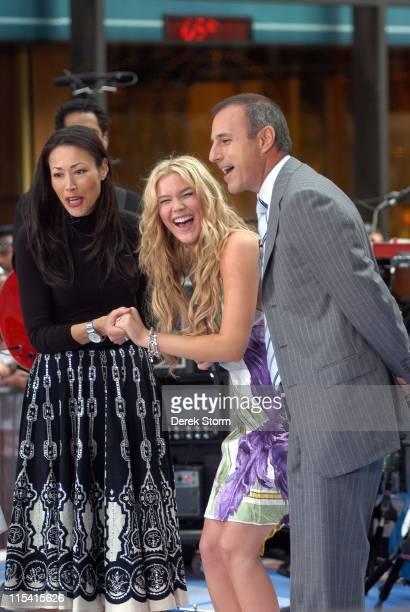 Ann Curry Joss Stone and Matt Lauer during Joss Stone performs on the 'Today' Show Summer Concert Series August 26 2005 at NBC Studios Rockefeller...