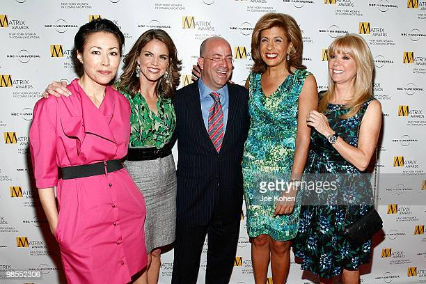 Ann Curry Natalie Morales Jeff Zucker Hoda Kotb and Kathie Lee Gifford attend the 2010 Matrix Awards presented by New York Women in Communications at...