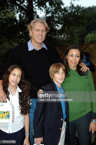 Ann Curry with husband Brian Ross and children McKenzie and Williams at the New York premiere of Dreamworks Animation Sharkspeare in the Park held at...