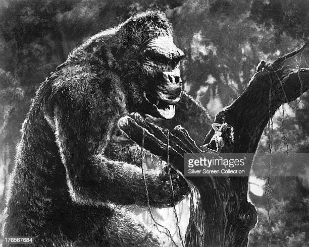 Ann Darrow played by American actress Fay Wray is menaced by the gigantic ape Kong in 'King Kong' directed by Merian C Cooper and Ernest B Schoedsack...