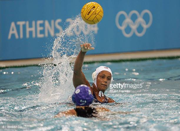 Ann Dow of Canada in action against Brenda Villa of USA in the women's Water Polo preliminary game on August 18 2004 during the Athens 2004 Summer...