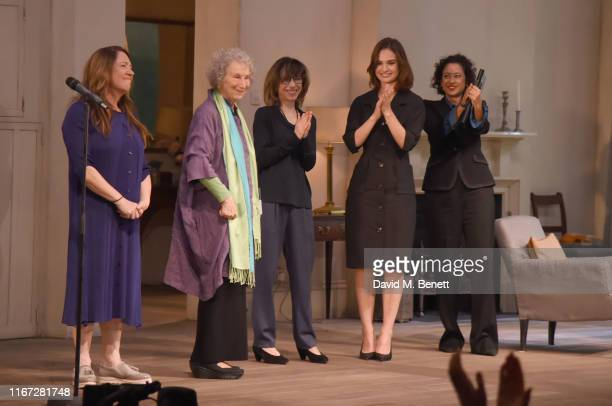 Ann Dowd Margaret Atwood Sally Hawkins Lily James and Samira Ahmed attend In Conversation with Margaret Atwood at The National Theatre on September...