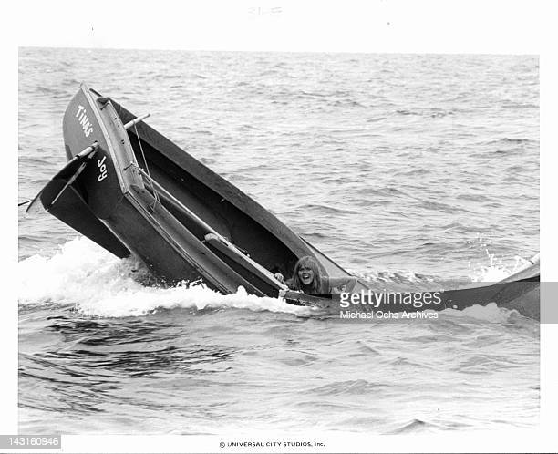 Ann Dusenberry in sinking boat in a scene from the film 'Jaws 2', 1978.