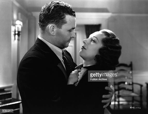 Ann Dvorak and Barton MacLane share a close embrace in a scene from the film 'G Men' an allaction crime movie Title G Men Studio Warner Brothers...