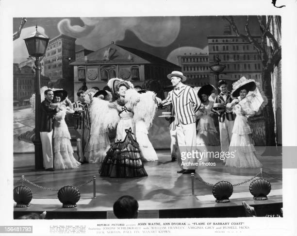 Ann Dvorak performs on stage in a scene from the film 'Flame Of Barbary Coast' 1945
