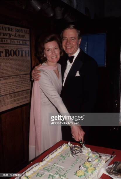 Ann Flood Forrest Compton behind the scenes anniversary party at the soap opera 'Edge of Night'