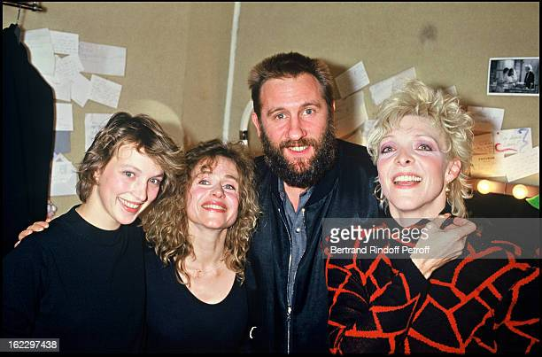 Ann Gisel Glass, Elisabeth Depardieu, Gerard Depardieu and Tonie Marshall after Exces Contraire Dress Rehearsal at the Theatre des Bouffes Parisiens,...