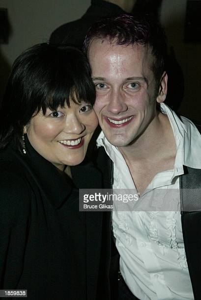 Ann Harada and author Jeff Whitty attend the opening night party for Avenue Q a new offBroadway musical at Link March 19 2003 in New York City