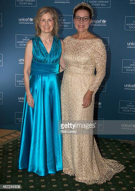 Ann Holmes and Karen Hofer attend The 2nd Annual UNICEF Audrey Hepburn Society Ball Presented to Robert Janice McNair at the Wortham Center Brown...