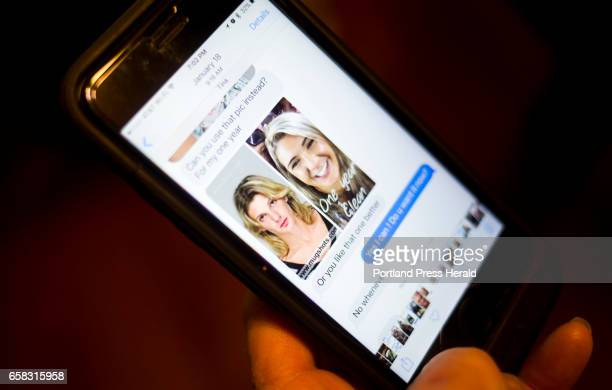 Ann Howgate looks through her phone at old text messages from her daughter Kristina In this message she sent her mom a side by side comparison of her...