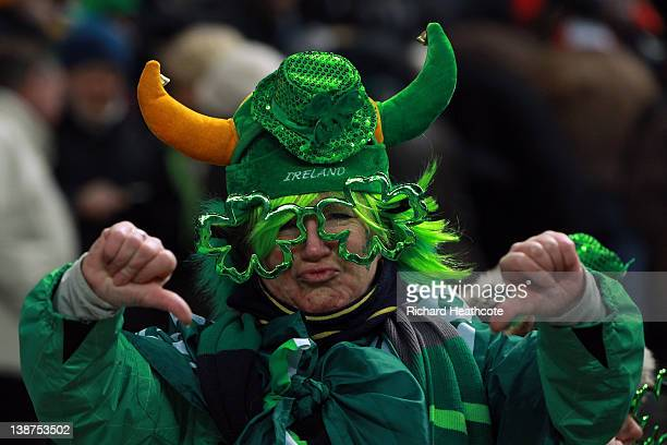 Ann Irish fan shows her displeasure as the match is called off just before kick off due to a frozen pitch during the RBS 6 Nations match between...