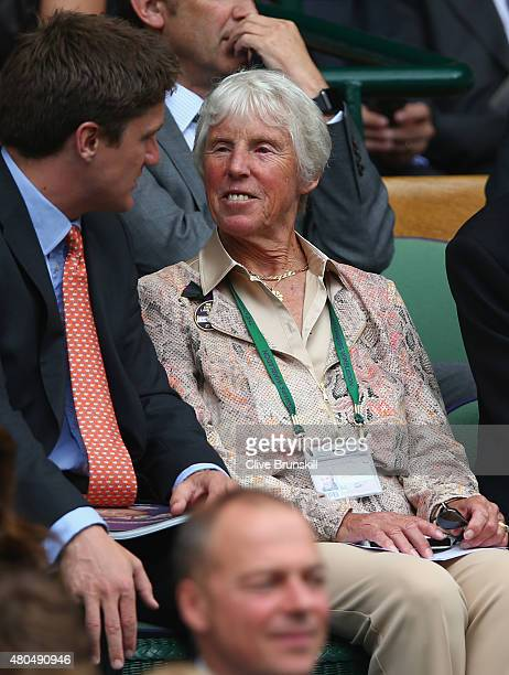 Ann Jones attends day thirteen of the Wimbledon Lawn Tennis Championships at the All England Lawn Tennis and Croquet Club on July 12 2015 in London...