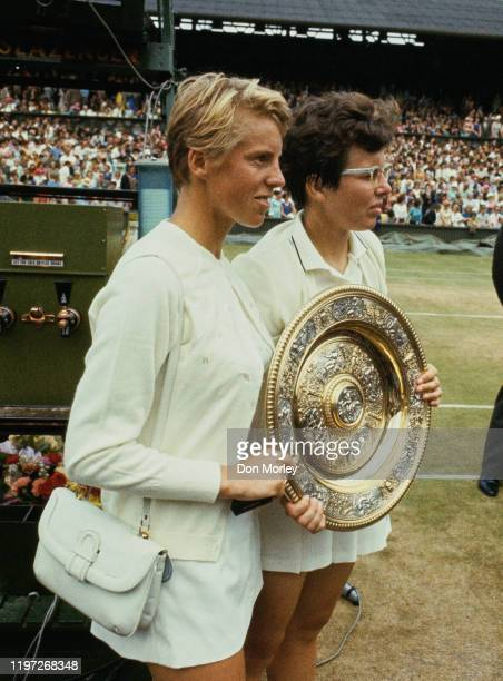 Ann Jones of Great Britain and Billie Jean King of the United States pose with the Venus Rosewater Dish before the Women's Singles Final match...