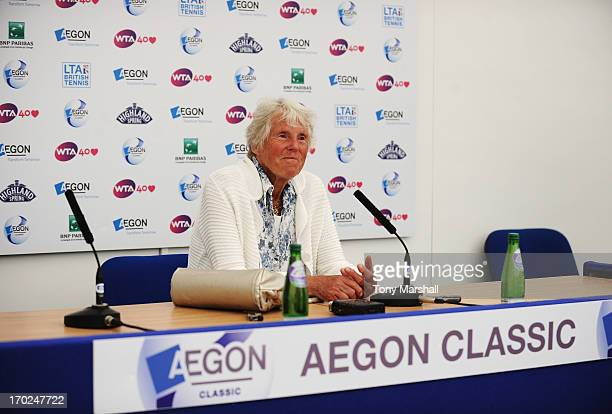 Ann Jones smiles during a press conference on day one of the AEGON Classic tennis tournament at Edgbaston Priory Club on June 9 2013 in Birmingham...