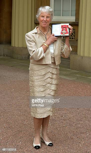 Ann Jones Wimbledon Ladies Tennis Champion in 1969 holds her CBE Award after being presented with it by Queen Elizabeth II at an Investiture ceremony...