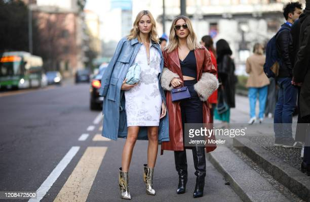 Ann Kathrin Goetze and Mandy Bork are seen before Sportmax during Milan Fashion Week Fall/Winter 20202021 on February 21 2020 in Milan Italy