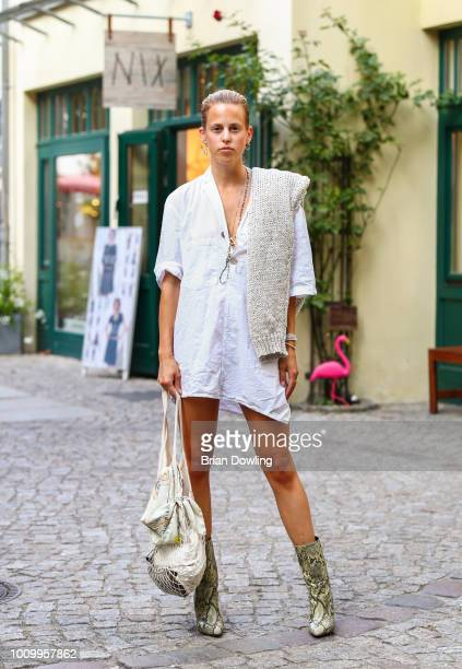 Ann Kathrin Grebner attends the Strenesse X Styleshiver X Bloggerbazaar launch event on August 2 2018 in Berlin Germany