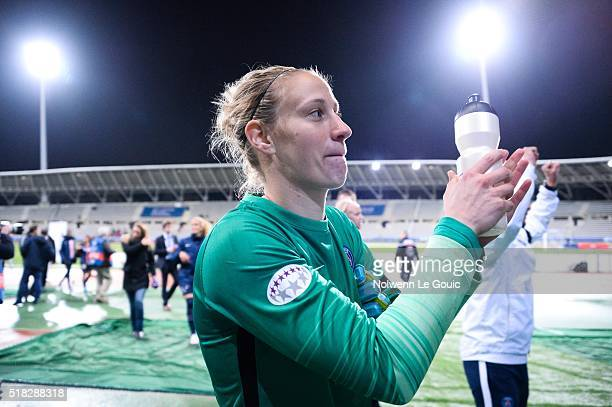 Ann Katrin Berger of PSG celebrates during Uefa Women's Champions League match between Paris Saint Germain and Fc Barcelona round of 8 second leg at...
