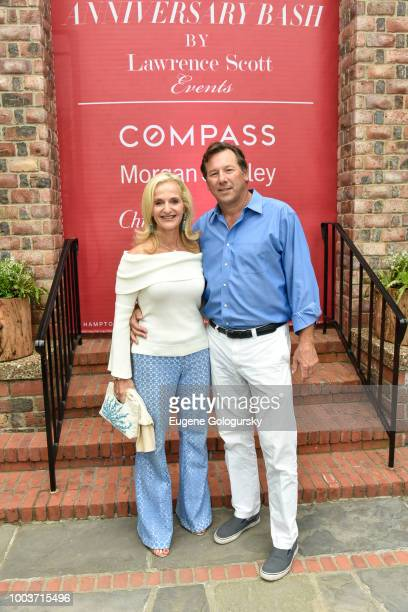 Ann Liguori and Scott Vallaoi attend the Hamptons Magazine 40th Anniversary Bash By Lawrence Scott Events Presented By Compass at Southampton Arts...