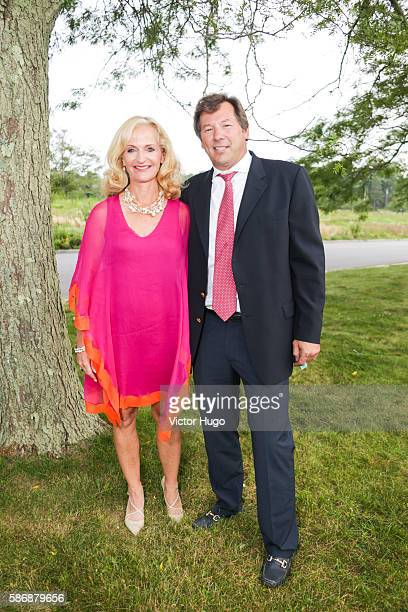 Ann Liguori and Scott Vallary attend Southampton Hospital's 58th Annual Summer Party at Wickapogue Road on August 6 2016 in Southampton New York
