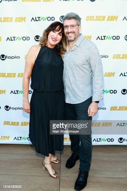 """Ann Marie Allison and Dan Allison attend Utopia Films presents """"Golden Arm"""" premiere at Palm Sophia Rooftop on April 30, 2021 in Culver City,..."""