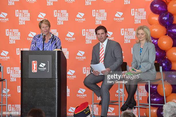 Ann Meyers Drysdale Vice President of the Phoenix Mercury addresses the media during the announcement of the Boost Mobile WNBA All Star 2014 Game at...