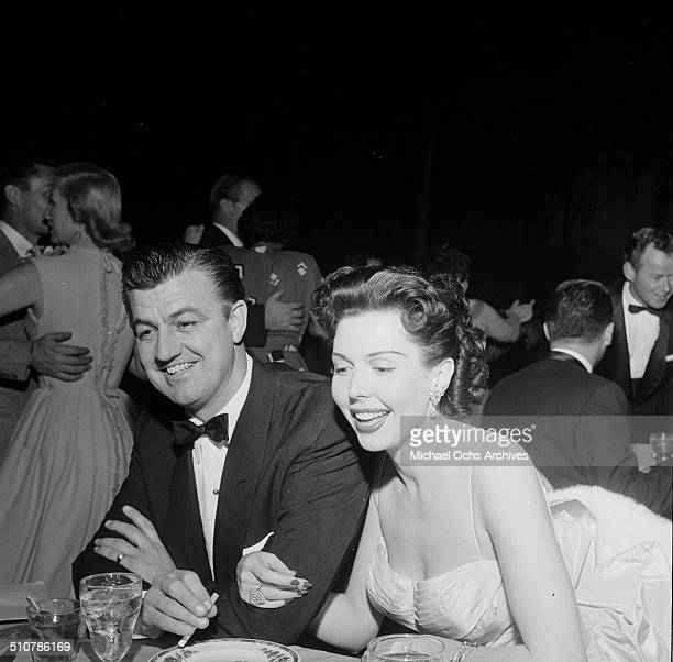 Ann Miller and Bill O'Conner dine at the Cocoanut Grove in Los AngelesCA