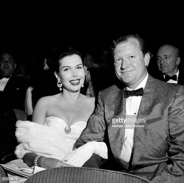 Ann Miller and guest attend the movie premiere of Trapeze in Los AngelesCA