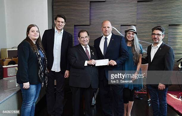 Ann Mincieli Ben Allison Congressman Jerrold Nadler John Poppo Judy Tint and Nick Cucci pose at Jungle City Studios on June 17 2016 in New York City