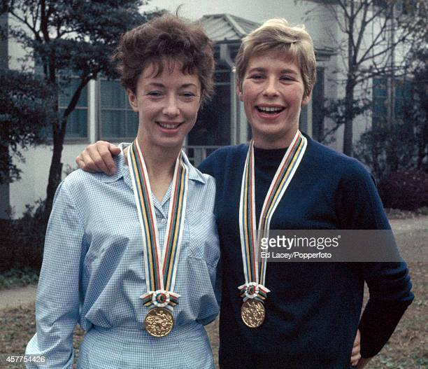 Ann Packer of Great Britain gold medallist in the women's 800 metres and Mary Rand of Great Britain gold medallist in the long jump proudly display...