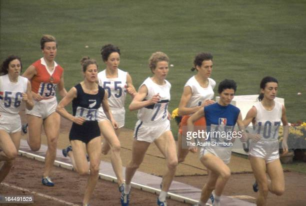 Ann Packer of Great Britain Maryvonne Dupureur of France and Ann Chamberlain of New Zealand compete in the Women's 800m Final during the Tokyo...
