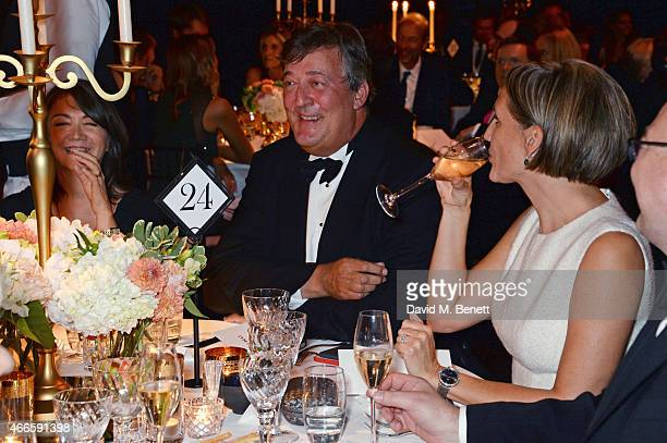 Ann Rees Meyers Stephen Fry and Saffron Aldridge attend the BFI London Film Festival IWC Gala Dinner in honour of the BFI at Battersea Evolution...