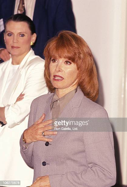 Ann Reinking and Stefanie Powers during 'Applause' Press Conference September 6 1996 at Paper Mill Playhouse in Millburn New Jersey United States