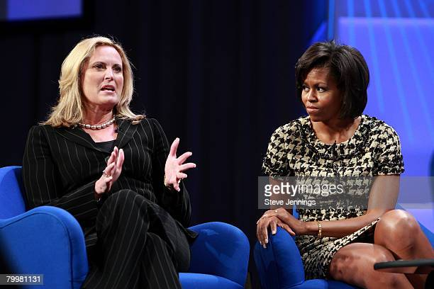 Ann Romney and Michelle Obama speak during a 'Conversation with Presidential Spouses' discussion at the Women's Conference 2007 held at the Long...