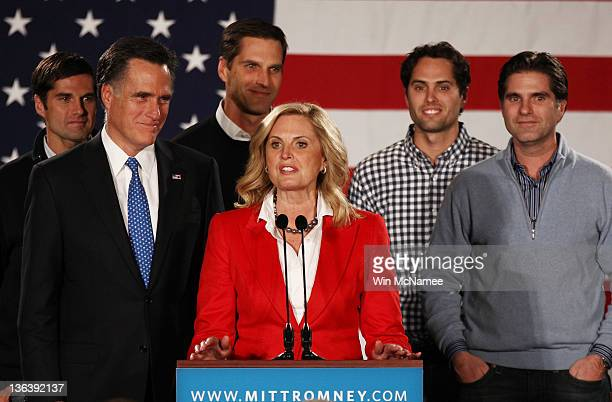 Ann Romney introduces her husband Republican presidential candidate former Massachusetts Gov Mitt Romney as their sons Josh Matt Craig and Tagg look...