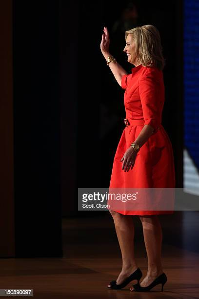 Ann Romney wife of Republican presidential candidate former Massachusetts Gov Mitt Romney waves as she walks on stage during the Republican National...