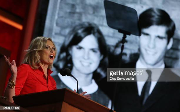 Ann Romney wife of Republican presidential candidate former Massachusetts Gov Mitt Romney speaks on stage during the Republican National Convention...