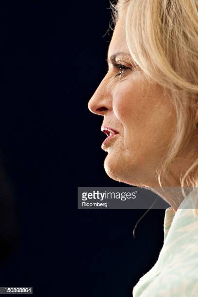 Ann Romney wife of Republican presidential candidate Mitt Romney speaks during a television interview on the floor of the Republican National...