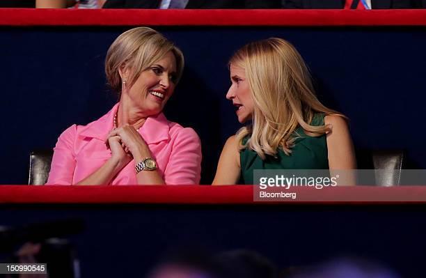 Ann Romney, wife of Republican presidential candidate Mitt Romney, left, speaks with Janna Ryan, wife of Republican vice presidential candidate Paul...