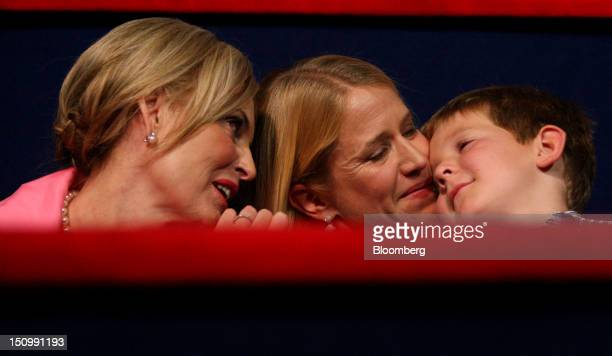 Ann Romney, wife of Republican presidential candidate Mitt Romney, left, sits with Janna Ryan, wife of Republican vice presidential candidate Paul...