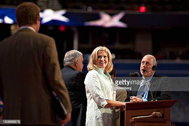 Ann Romney wife of Republican presidential candidate Mitt Romney stands on stage during a walk through at the Republican National Convention in Tampa...