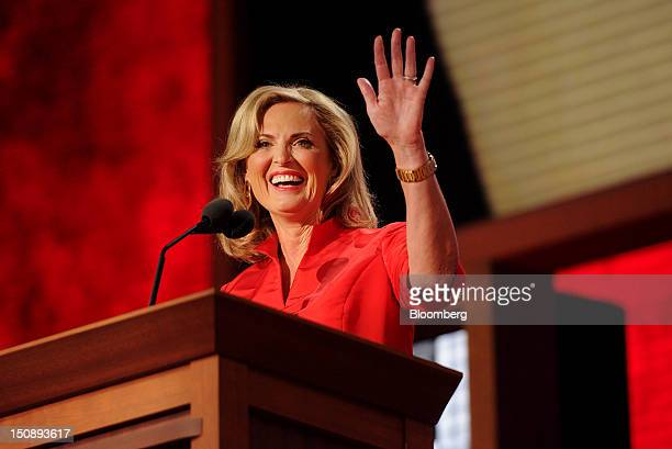 Ann Romney wife of Republican presidential candidate Mitt Romney waves before speaking at the Republican National Convention in Tampa Florida US on...